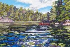 Walford-Red-Canoe-on-Buckskin-Lake-30x30-acrylic-on-canvas-